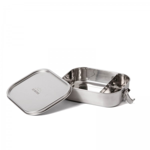 Leak-proof, rectangular lunchbox made of stainless steel with flexible divider | ECO Brotbox