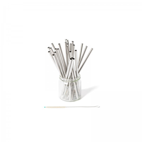 Straight 22 cm stainless steel straws with cleaning brush – Set of 25 | ECO Brotbox